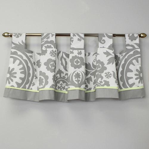 grey and white floral tab top valance