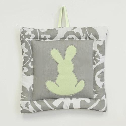 grey and white floral bunny wall art