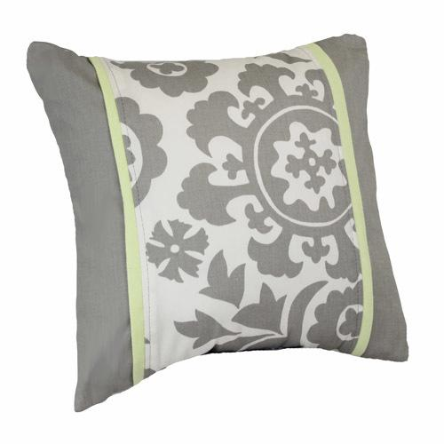 grey and white floral decor pillow