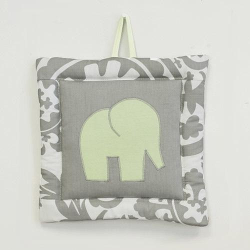 grey and white floral elephant wall art