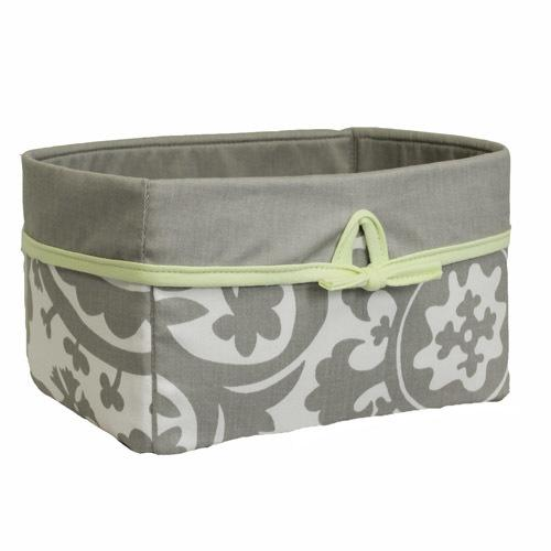 grey and white floral soft nursery basket