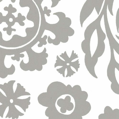 grey and white floral fabric for sale by the metre