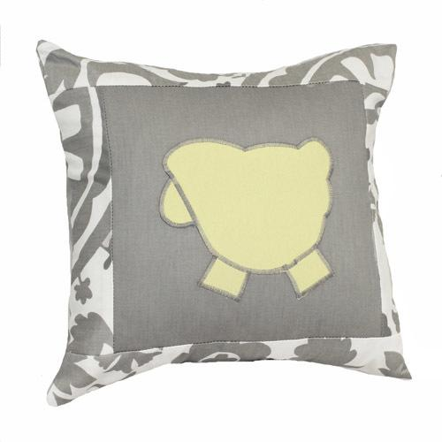 grey and white floral elephant lammy pillow