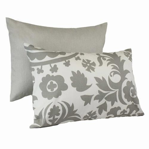 grey and white floral lumbar pillows