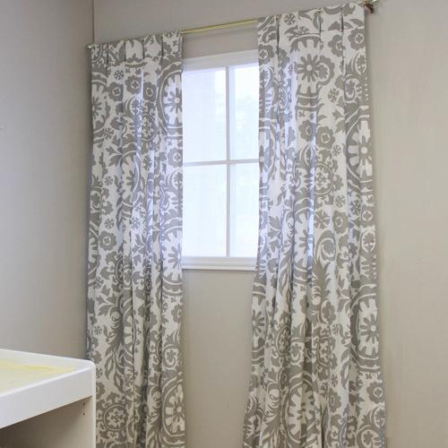 grey and white floral tab top drapes