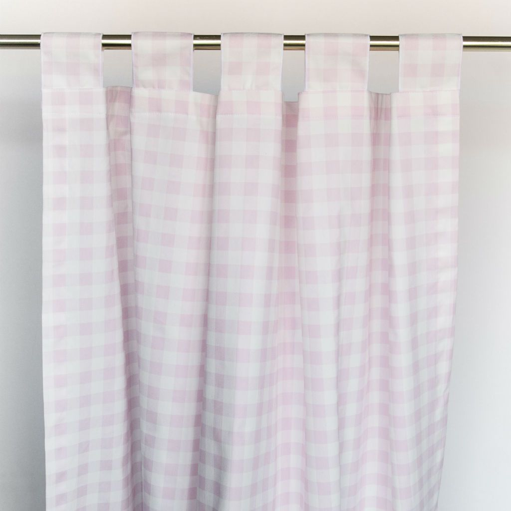 pink and white plaid tab top drapes