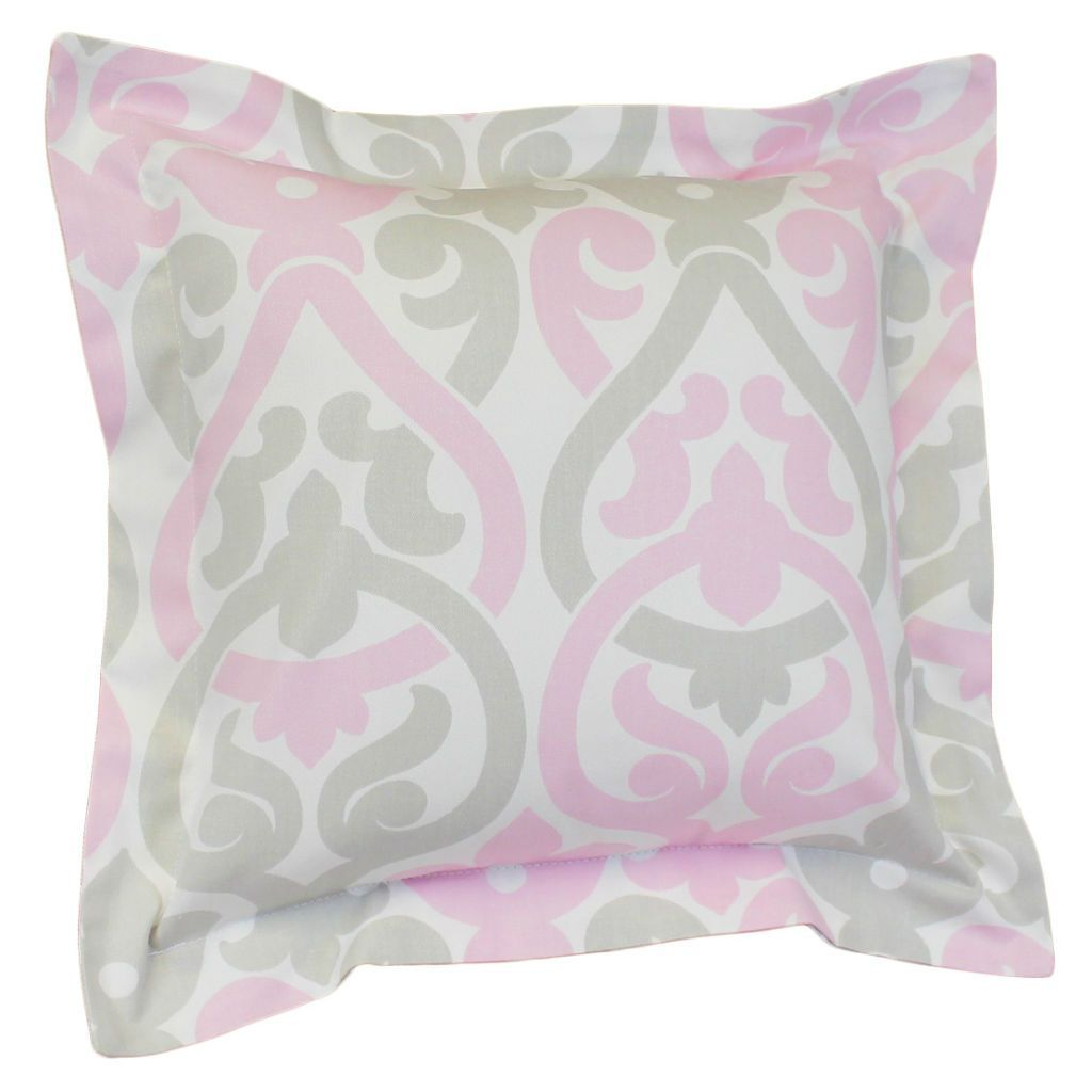 white with pink and grey floral scroll flange decor pillow