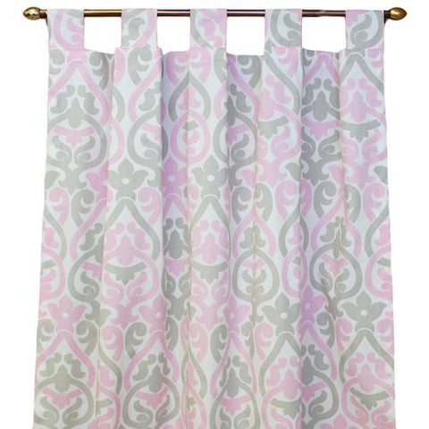 white with pink and grey floral scroll tab top drapes