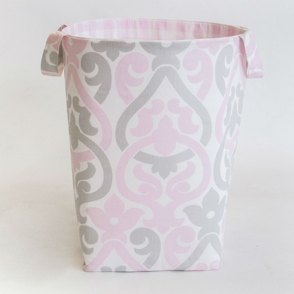white with pink and grey floral scroll and plaid soft hamper