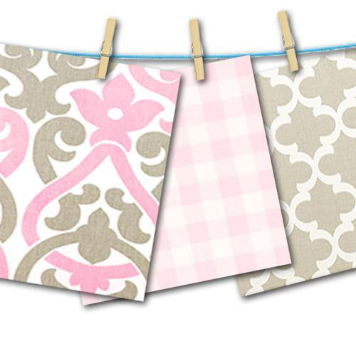 white with pink and grey floral scroll, plaid, and grey trellis free fabric swatches