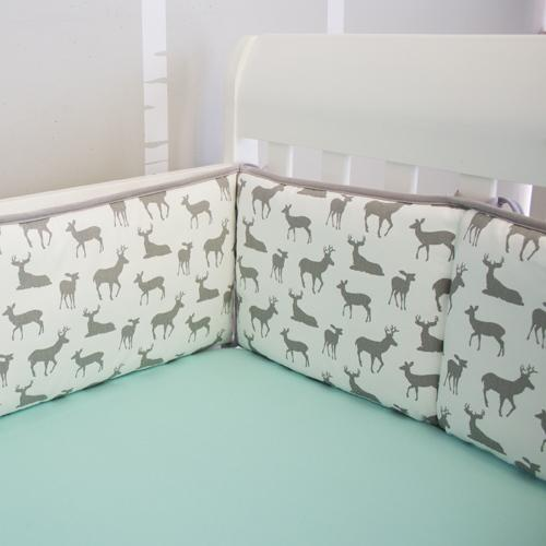 grey and white deer pattern wrap around crib bumper pad