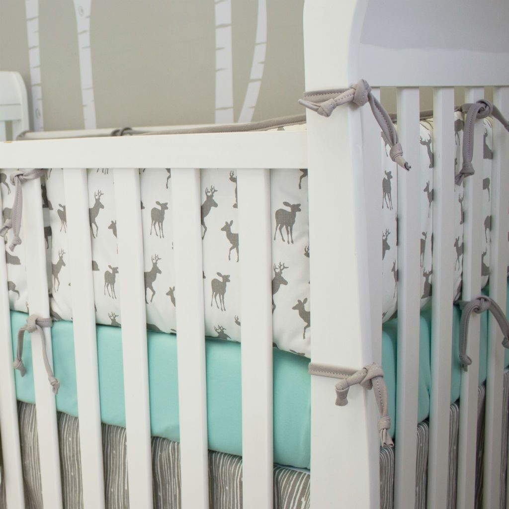 grey and white deer pattern bumper crib pad