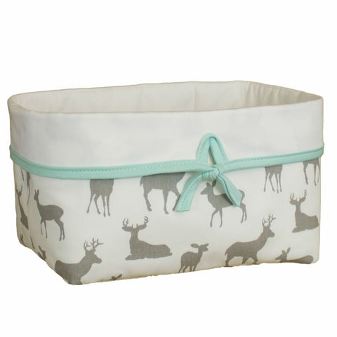 white and grey deer pattern hamper basket