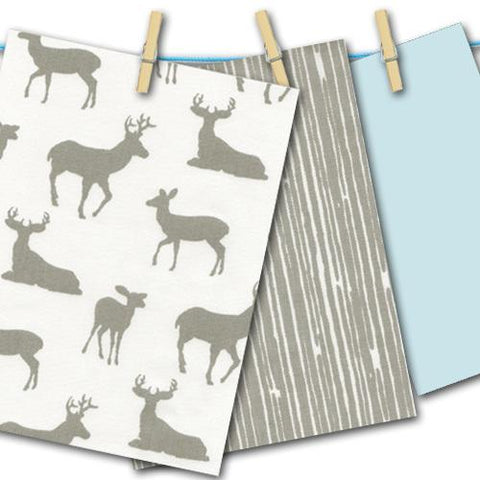 grey and white deer pattern fabric swatch