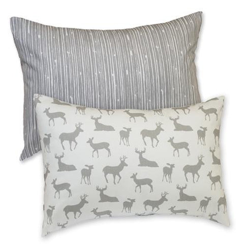 grey and white deer pattern lumbar pillow