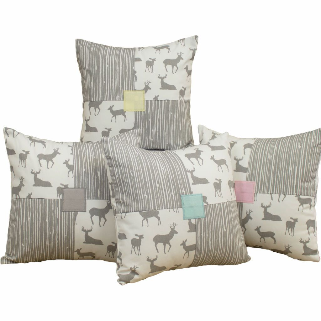 grey and white patch deer pattern pillow