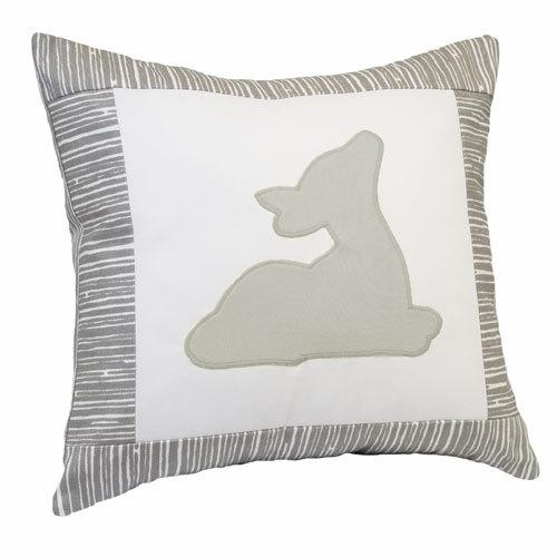 grey deer on grey and white pillow