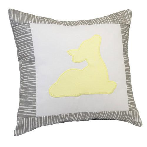 yellow deer on grey and white pillow