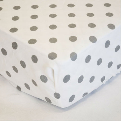 grey and white polka dot crib sheet