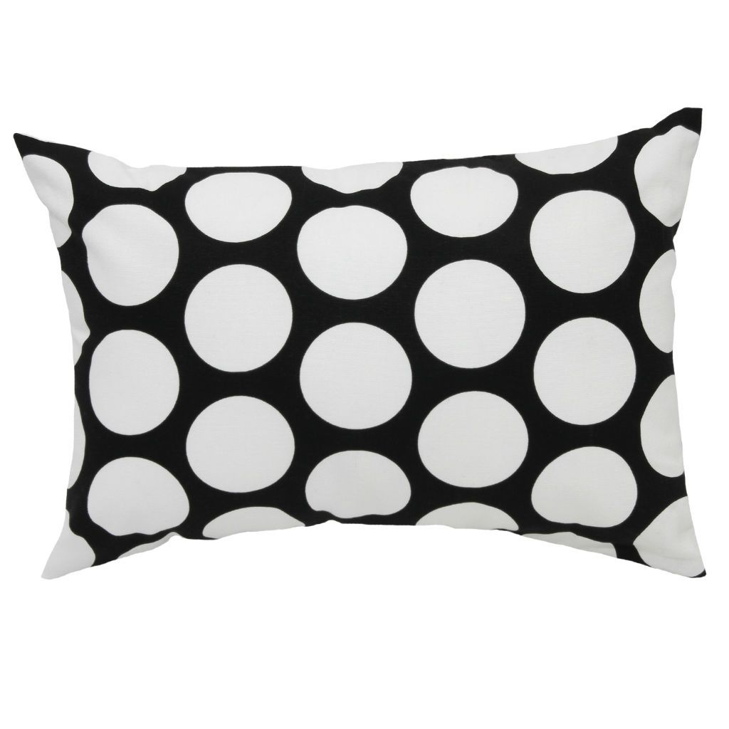 black and white polka dot lumbar pillow