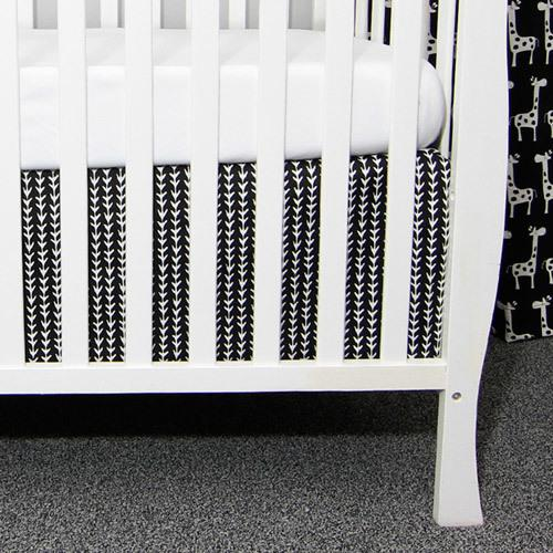 black and white vine pattern crib skirt