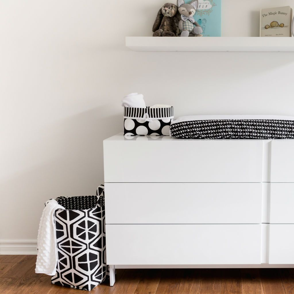 geometric black and white hamper with white dresser black and white accessories