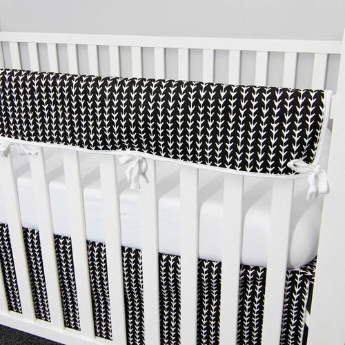 black and white vine pattern crib protector