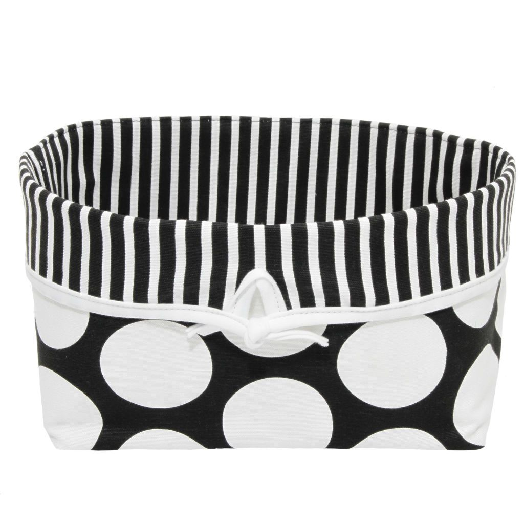 black and white polka dot fabric basket white bow