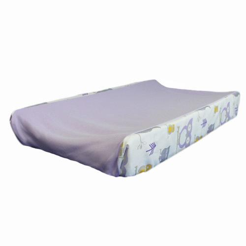 lilac change pad cover with owl patterned sides