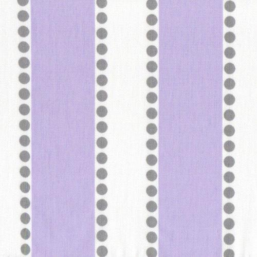 lilac and white strips with grey polka dots fabric