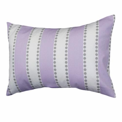 lilac and white stripes with grey polka dots lumbar pillow