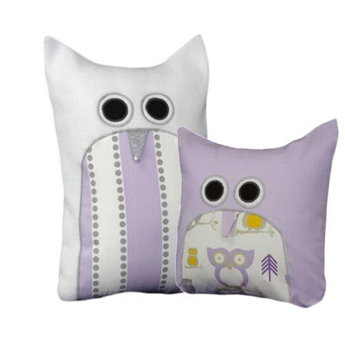 lilac white grey and yellow owl pillows