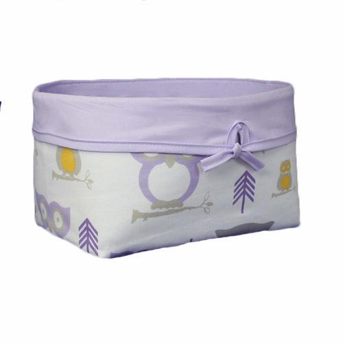 lilac white grey and yellow owl basket