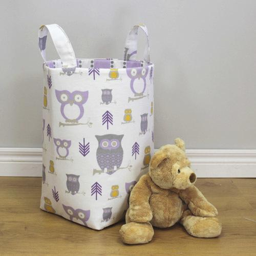 lilac white grey and yellow owl patterned hamper