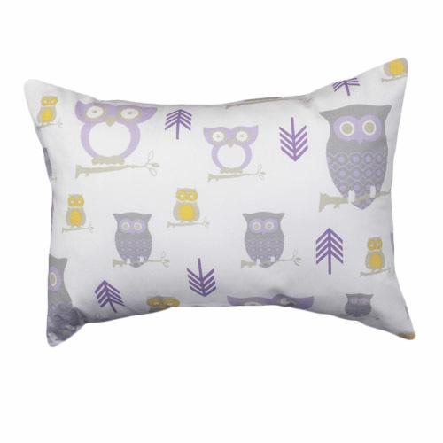 lilac white grey yellow owl patterned lumbar pillow