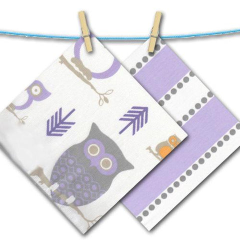 purple white grey and yellow owl stripe polka dot fabrics