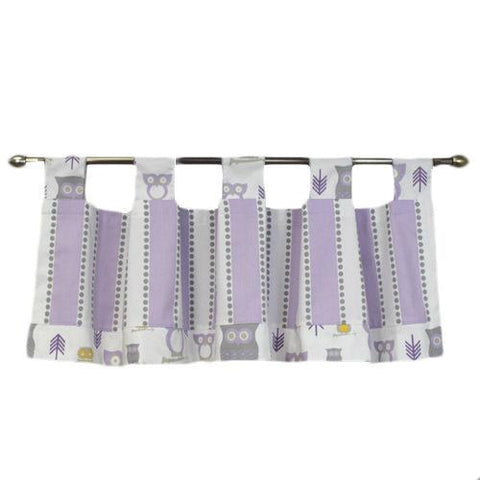 lilac white grey and yellow owl and stripped valance with tabs