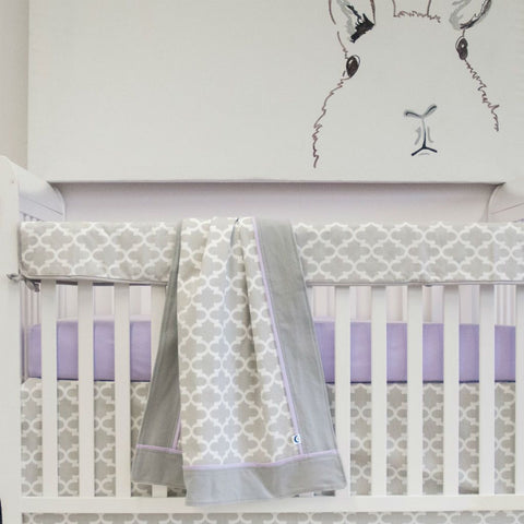 grey and white trellis baby bedding set with bunny artwork