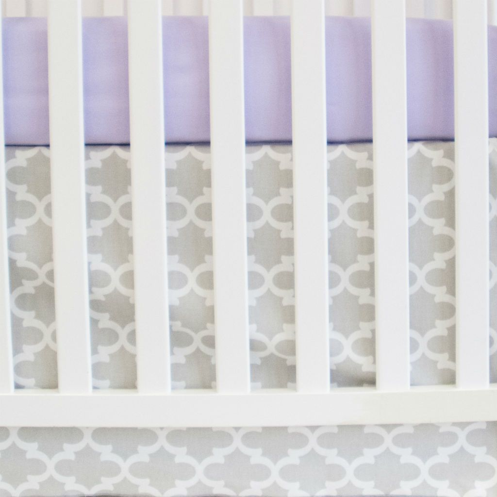 grey and white trellis crib skirt with lilac forever crib sheet