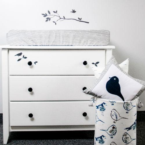 woodland bark change pad cover, bird soft hamper, navy bird applique pillow, white dresser