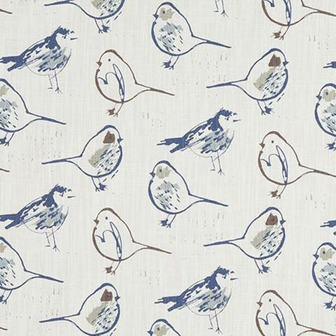 woodland bird in brown blue tan for sale by the metre