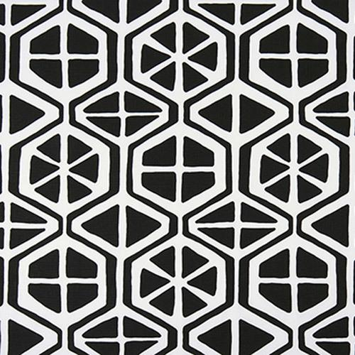 black and white hexagon pattern fabric swatch