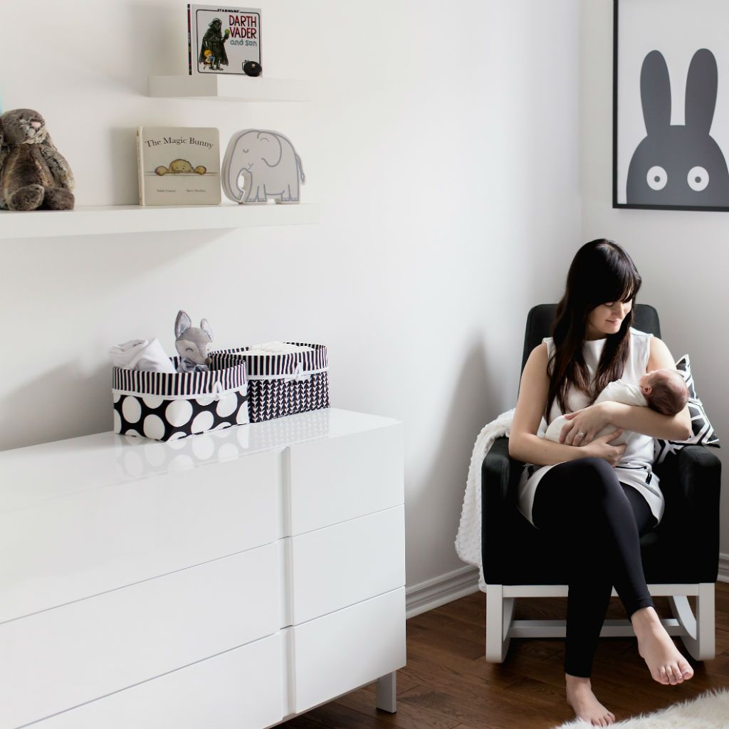 black and white baby nursery with mom and baby