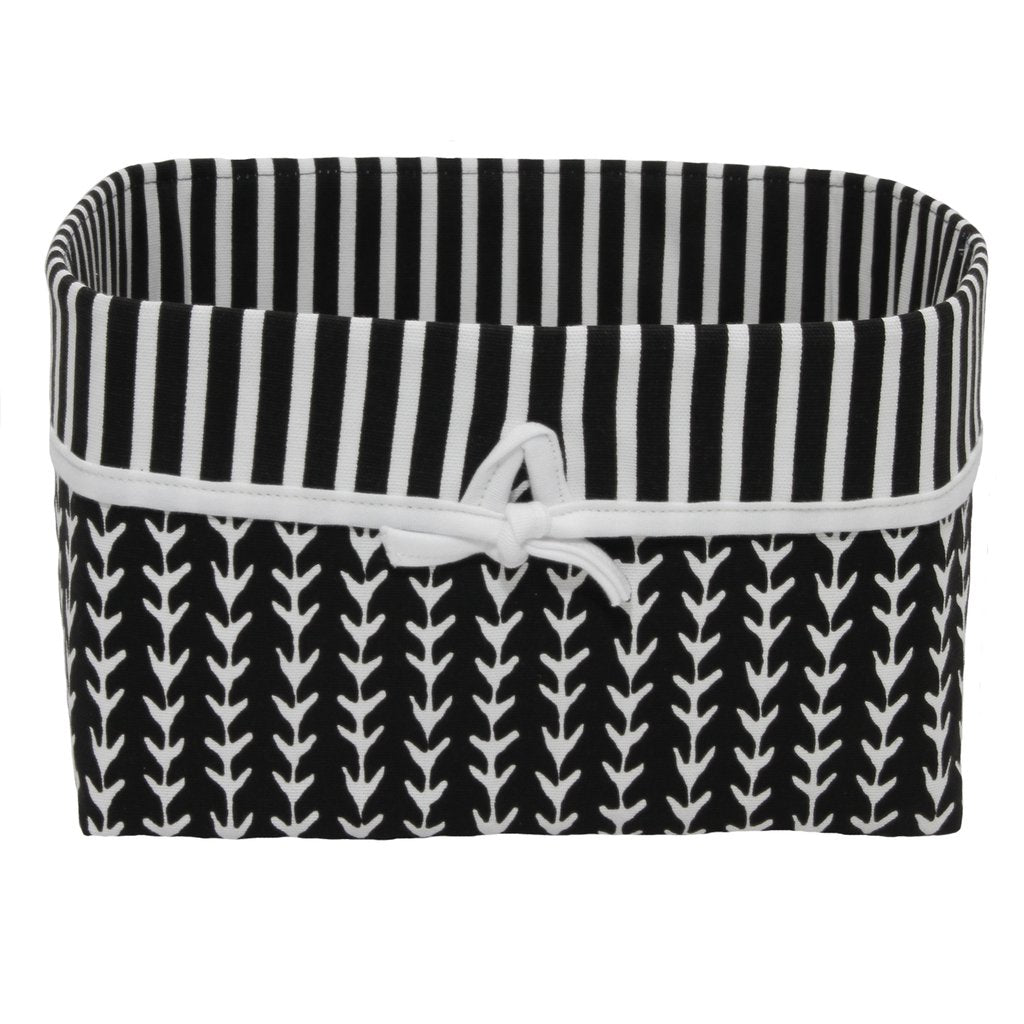 black and white vine and stripe basket