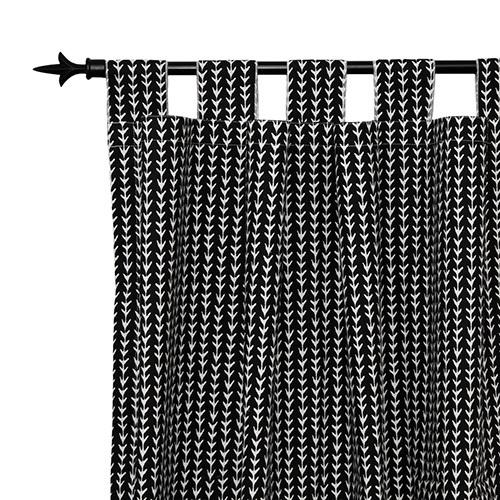 black and white vine pattern drapes