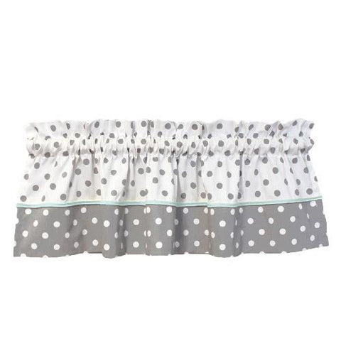 polka dot grey and white window valance