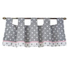 polka dot grey and white window tab top valance