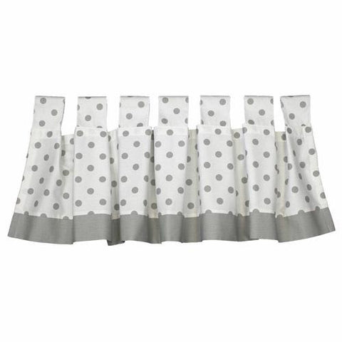 polka dot grey and white window tab top valance with solid grey trim