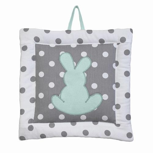 polka dot grey and white wall art with bunny