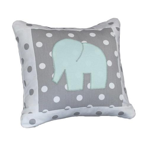polka dot grey and white decor pillow with applique elephant